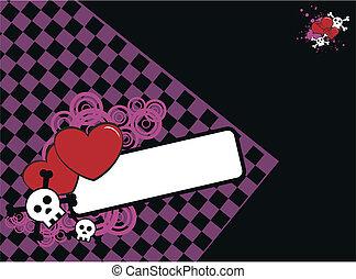 skull heart background10