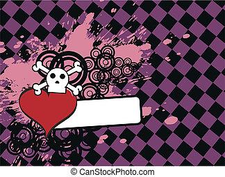 skull heart background6