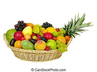 Un, grande, variedad, exótico, frutas, cesta