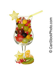 Fruit Juice Concept - Various fresh exotic fruits in glass...