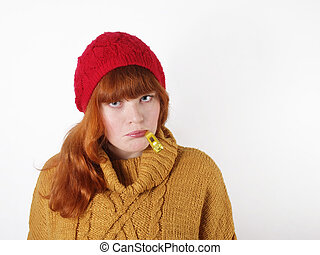 young woman with a cold