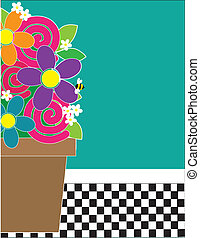 Flowers and Checks - A frame or border featuring a...