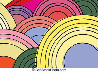 Endless Circles I - 1970's style spiral circle shapes, lines...