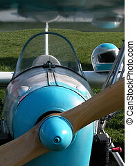 Ultralight airplane - Blue ultralight airplane ready to fly...
