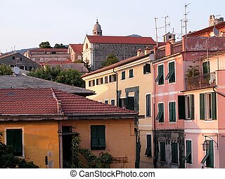 Levanto village - Colorful typical houses at sunset in...