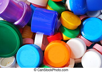 Plastic bottle caps - Background of multicolored plastic...