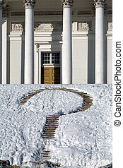 Guess mark on church steps in winter