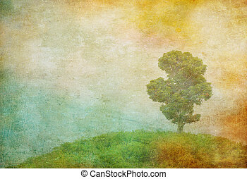 vintage image of a tree over grunge background - grunge...