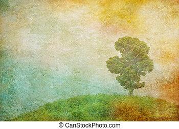 葡萄酒, 圖像, 樹, 在上方, grunge, 背景