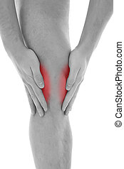 Knee pain - Young man with both palms around knee
