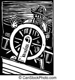 Pirate at the Wheel - A pirate on a wave tossed ship hold...