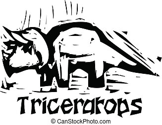 Woodcut Triceratops Dinosaur - Simple rough woodcut style...