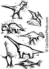 Dinosaur Spot Images - Simple rough woodcut style depictions...