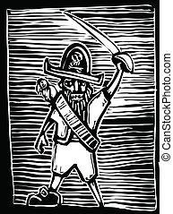 Pirate Captain - Pirate captain in a woodcut style with...