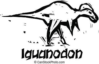 Woodcut Iguanodon Dinosaur - Simple rough woodcut style...