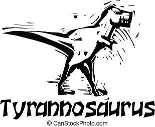 Woodcut Tyrannosaurus Rex Dinosaur - Simple rough woodcut...