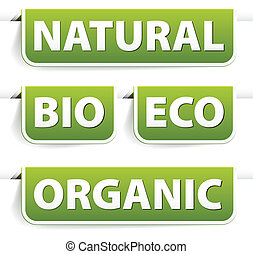 Set of green bookmarks for organic food