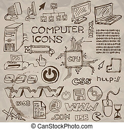 Set of hand-drawn computer icons vector - Set of hand-drawn...