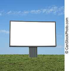 blank bilboard in a green field, add your text or image