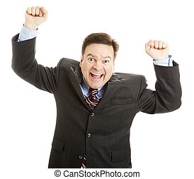 Businessman Cheering for Joy - Excited businessman rasing...