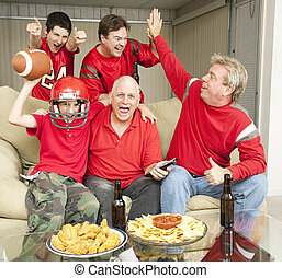 Winning - Football fans excited because their team is...