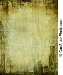grunge city - textured frame with cityscape