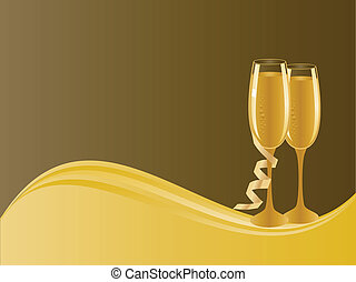 Champagne glasses - Pair of champagne glasses for...