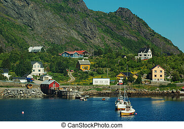 Sorvagen on the Lofoten, Norway - Sorvagen, the town of the...