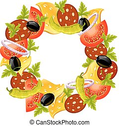 round wreath of food concept vector illustration isolated on...
