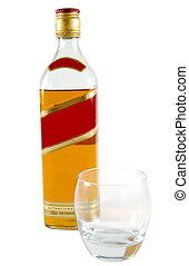 whisky - Bottle of whisky with the glass isolated