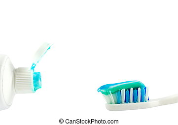 Tooth paste and tooth brush isolated over white