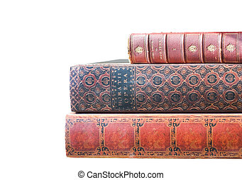Antique Leatherbound Books Isolated on White - Stack of old...