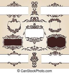 set of floral elements - vector set of floral elements