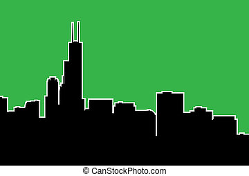 Chicago Skyline Silhouette - Skyline silhouette of the city...