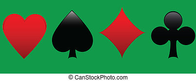 Playing card suits in green background