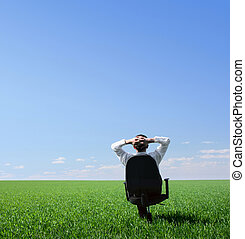Man - Businessman sitting on chair in green meadow and...