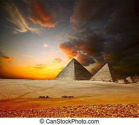 Giza - Grate pyramids in Giza valley Egypt