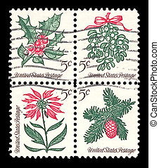 USA 1964 Christmas stamps; mistletoe, holly, pine, and poinsetti