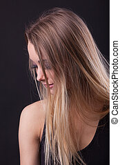 Young beauty blond girl in dream