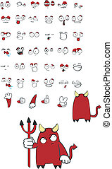 devil cartoon set