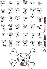 skull cartoon set
