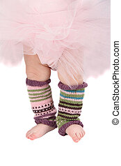 Ballet toes - Baby girl wearing a tutu and legwarmers