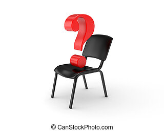 Empty chair and question sign - Empty chair on a white...