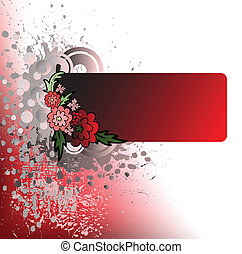 spattered background with red flowers