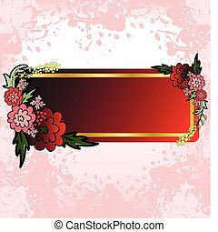 Red Flower card on the pink spray
