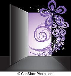 Open the door with the purple swirl - in the open doorway...