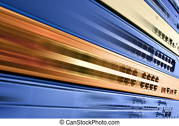 High speed internet - Blurred telecommunication equipment...