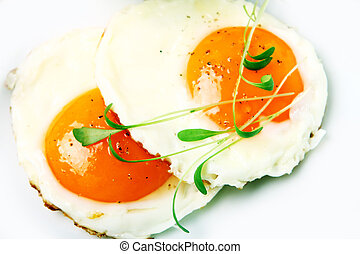 Fried eggs and verdure
