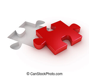 Red puzzle piece with a hole to fit it
