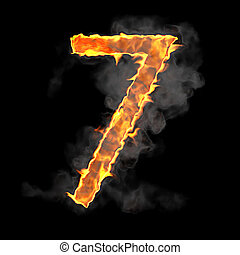 Burning and flame font 7 numeral